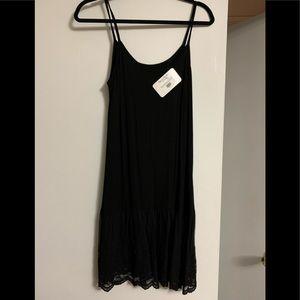 Black Embroidered Hem Slip- Shirt Extender